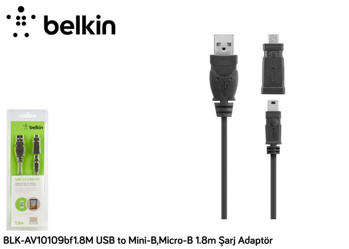 Belkin BLK-AV10109bf1.8M USB to Mini-B,Micro-B 1.8m Şarj Adaptör