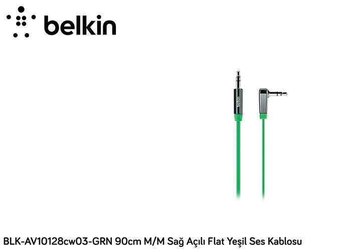 Belkin BLK-AV10128cw03-GRN 90cm M/M Sağ Açılı Flat Yeşil Ses Kablosu