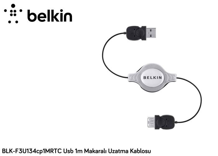 Belkin BLK-F3U134CP1MRTC . Usb 1m Makaralı Siyah Uzatma Kablosu