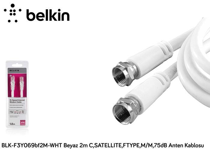 Belkin BLK-F3Y069bf2M-WHT Beyaz 2m C,SATELLITE,FTYPE,M/M,75dB Anten Kablosu