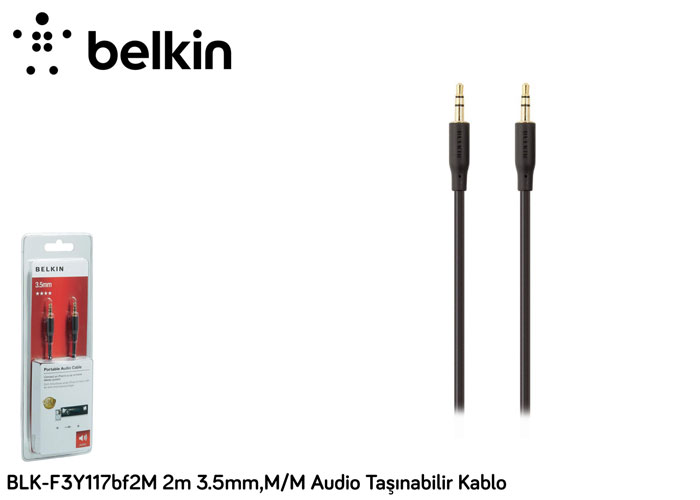 Belkin BLK-F3Y117bf2M 2m 3.5mm,M/M Audio Taşınabilir Kablo