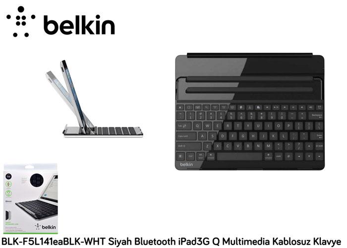 Belkin BLK-F5L141eaBLK-WHT Siyah Bluetooth iPad3G Q Multimedia Kablosuz klavye