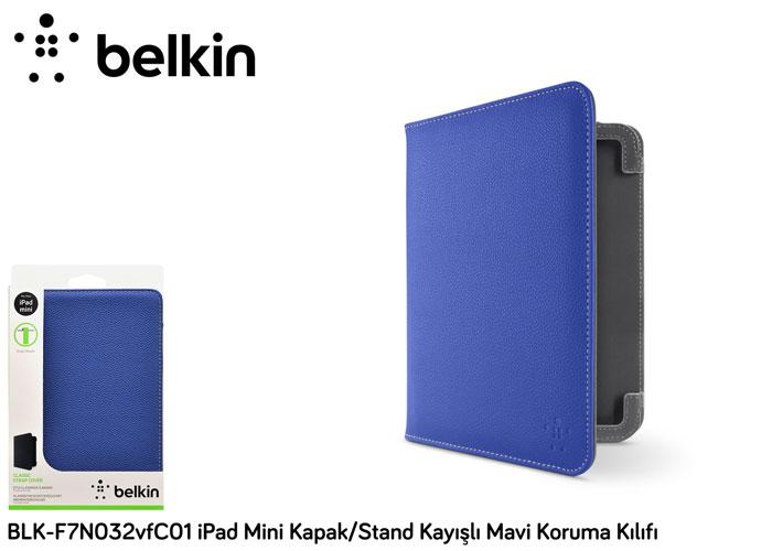 Belkin BLK-F7N032vfC01 iPad Mini Kapak/Stand Kayışlı Mavi Koruma Kılıfı