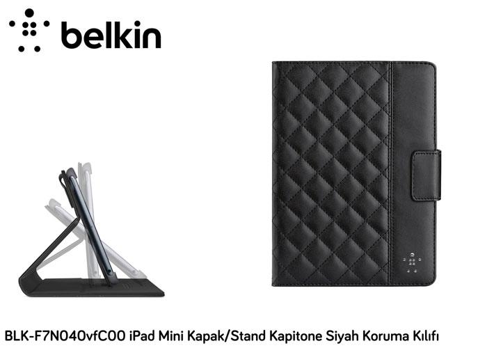 Belkin BLK-F7N040vfC00 iPad Mini Kapak/Stand Kapitone Siyah Koruma Kılıfı