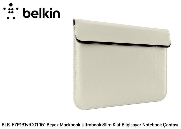 Belkin BLK-F7P131vfC01 15 Krem Mıknatıslı Mackbook,Ultrabook Slim Kılıf Bilgisayar Notebook Çantası