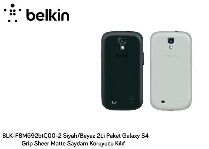 Belkin BLK-F8M592btC00-2 Siyah/Beyaz 2Li Paket Galaxy S4 Grip Sheer Matte Saydam Koruyucu Kılıf