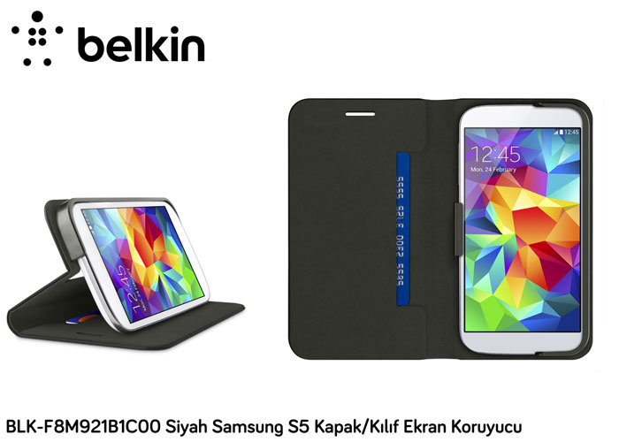 Belkin BLK-F8M921B1C00 Siyah Samsung S5 Kapak/Kılıf Ekran Koruyucu