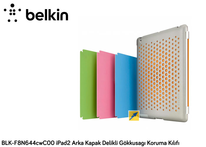 Belkin BLK-F8N644cwC00 iPad2 Arka Kapak Delikli Gökkusagı Koruma Kılıfı