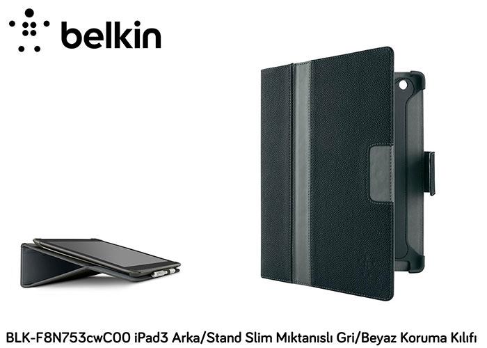 Belkin BLK-F8N753cwC00 iPad3 Arka/Stand Slim Mıktanıs Gri/Beyaz Koruma Kılıfı