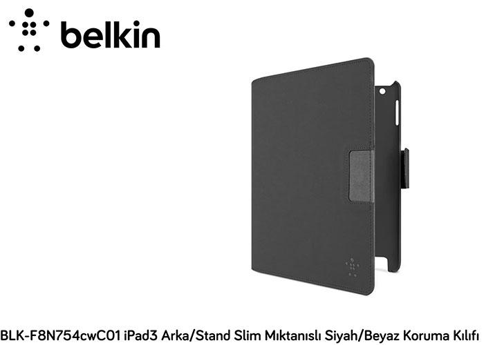 Belkin BLK-F8N754cwC01 iPad3 Arka/Stand Slim Mıktanıs Siyah/Beyaz Koruma Kılıfı