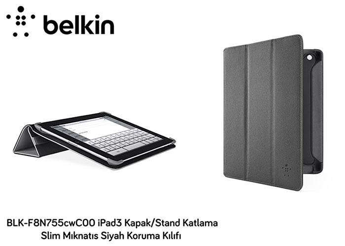 Belkin BLK-F8N755cwC00 iPad3 Kapak/Stand Katlama Slim Siyah Koruma Kılıfı