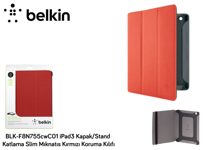 Belkin BLK-F8N755cwC01 iPad3 Kapak/Stand Katlama Slim Kırmızı Koruma Kılıfı