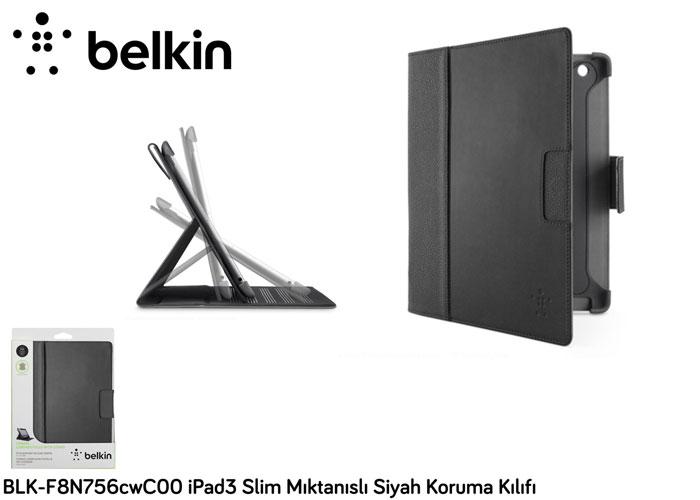Belkin BLK-F8N756cwC00 iPad3 Slim Mıktanıslı Siyah Koruma Kılıfı