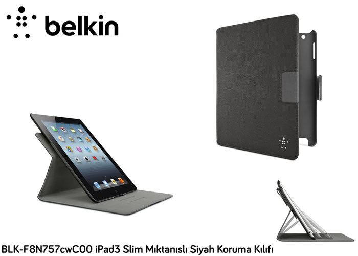 Belkin BLK-F8N757cwC00 iPad3 Slim Mıktanıslı Siyah Koruma Kılıfı