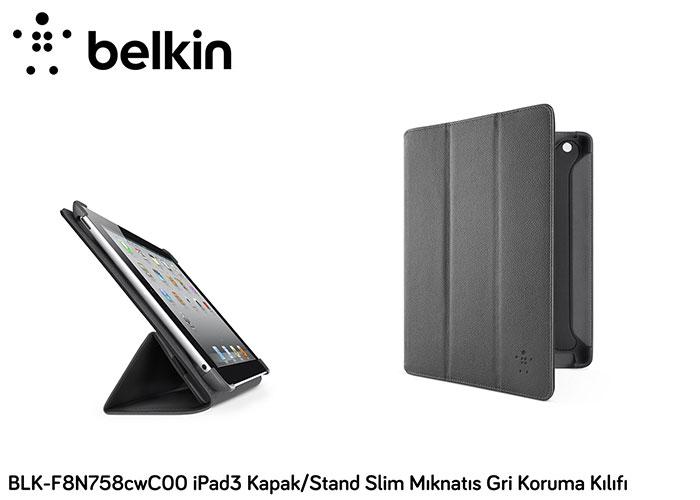 Belkin BLK-F8N758cwC00 iPad3 Kapak/Stand Slim Mıknatı Gri Koruma Kılıfı