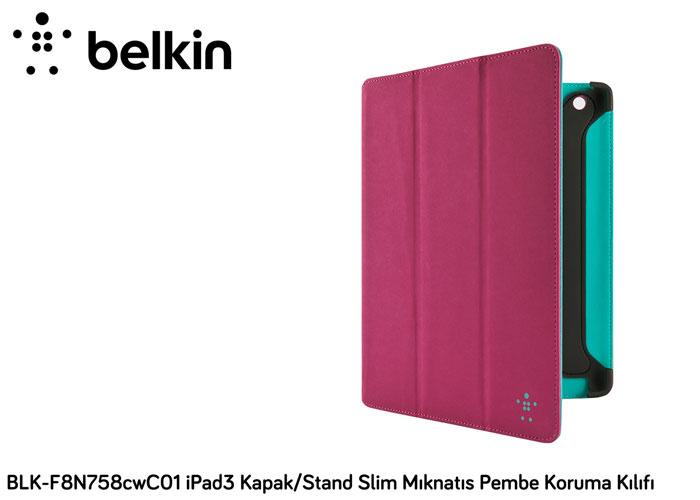 Belkin BLK-F8N758cwC01 iPad3 Kapak/Stand Slim Mıknatı Pembe Koruma Kılıfı