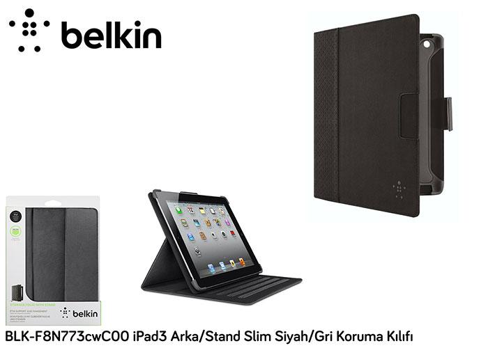 Belkin BLK-F8N773cwC00 iPad3 Arka/Stand Slim Siyah/Gri Koruma Kılıfı
