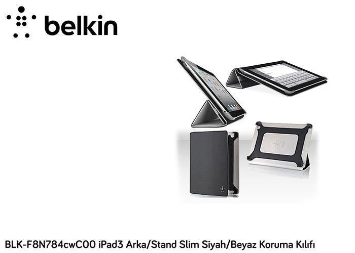 Belkin BLK-F8N784cwC00 iPad3 Arka/Stand Slim Siyah/Beyaz Koruma Kılıfı