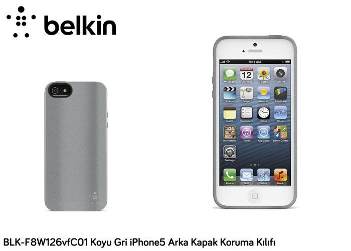 Belkin BLK-F8W126vfC01 Koyu Gri iPhone5 Arka Kapak Koruma Kılıfı