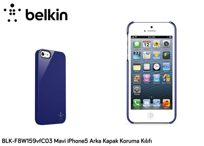 Belkin BLK-F8W159vfC03 Mavi iPhone5 Polikarbon Parlak Opak Arka Kapak