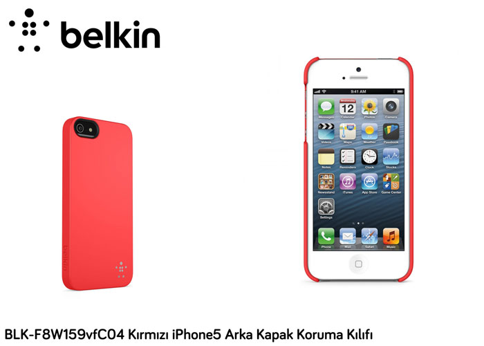 Belkin BLK-F8W159vfC04 Kırmızı iPhone5 Arka Kapak Koruma Kılıfı
