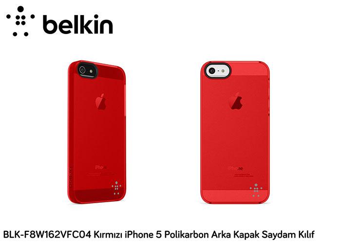 Belkin BLK-F8W162VFC04 Kırmızı iPhone 5 Polikarbon Arka Kapak Saydam Kılıf