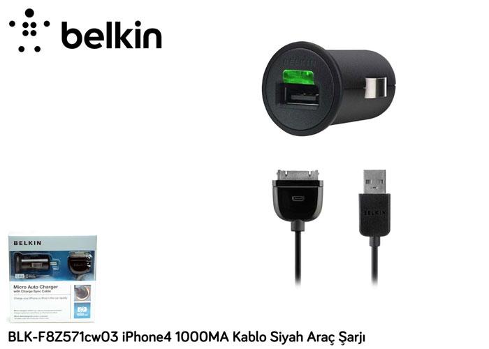 Belkin BLK-F8Z571cw03 iPhone4 1000MA Kablo Siyah Araç Şarjı