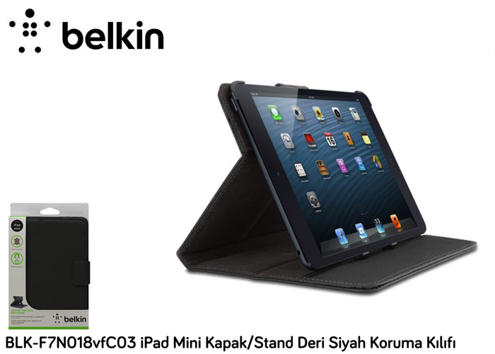 Belkin BLK-F7N018vfC03 iPad Mini Kapak/Stand Deri Siyah Koruma Kılıfı