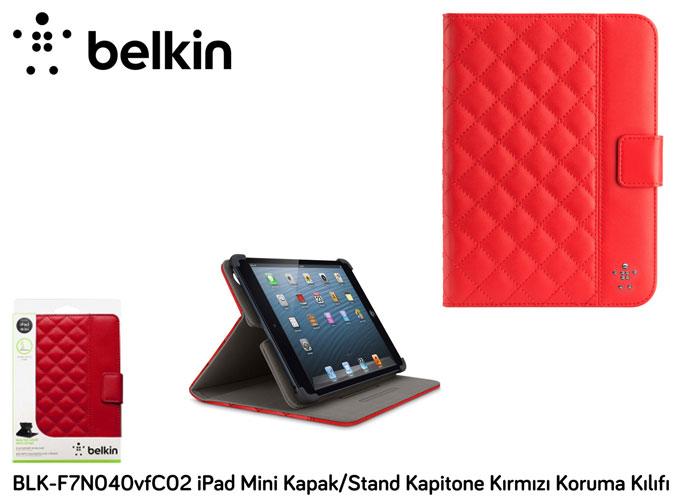 Belkin BLK-F7N040vfC02 iPad Mini Kapak/Stand Kapitone Kırmızı Koruma Kılıfı