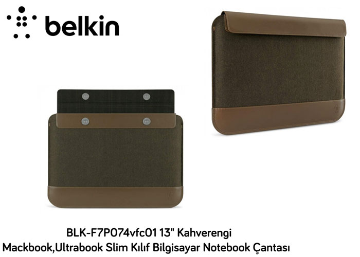 Belkin BLK-F7P074vfc01 13 Kahverengi Mackbook,Ultrabook Slim Kılıf Bilgisayar Notebook Çantası