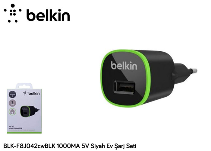Belkin BLK-F8J042cwBLK 1000MA 5V Siyah Ev Şarj Seti