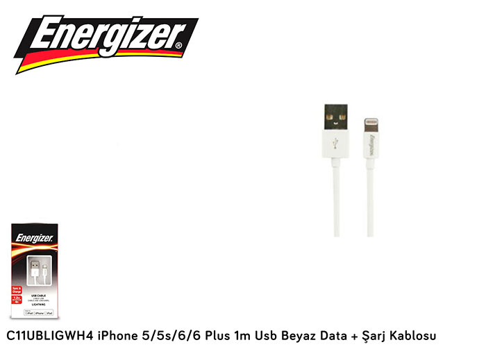 Energizer C11UBLIGWH4 1m Usb Data + Şarj Kablosu iPhone Lightning Beyaz
