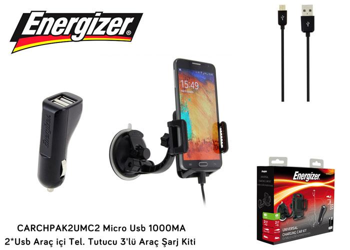 Energizer CARCHPAK2UMC2 Micro Usb 1000MA 2*Usb Araç içi Tel. Tutucu 3lü Araç Şarj Kiti