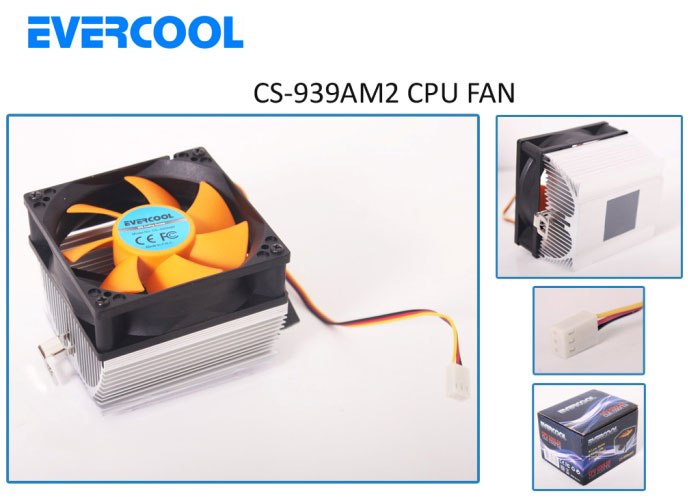 Evercool CS-939AM2 3pin Kırmızı CPU Fan