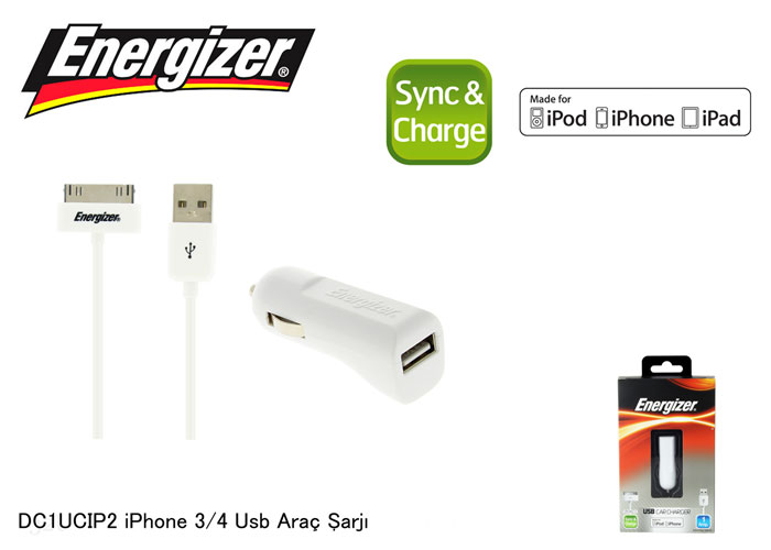 Energizer DC1UCIP2 iPhone 4 1000MA Usb Araç Şarjı