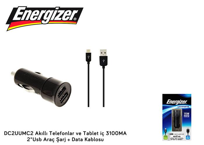 Energizer DC2UUMC2 Akıllı Telefonlar ve Tablet iç 3100MA 2*Usb Araç Şarj + Data Kablosu