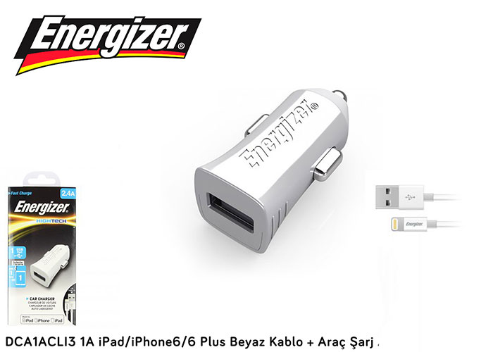 Energizer DCA1ACLI3 1A iPad/iPhone6/6 Plus Beyaz Kablo + Araç Şarj Adaptör