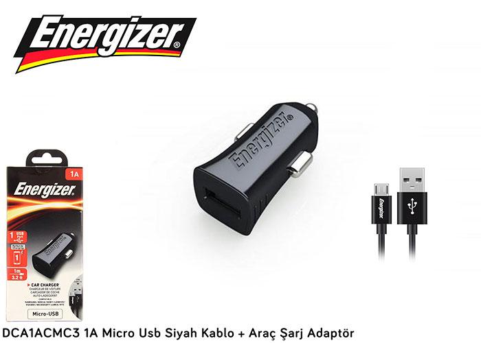 Energizer DCA1ACMC3 1A Micro Usb Siyah Kablo + Araç Şarj Adaptör