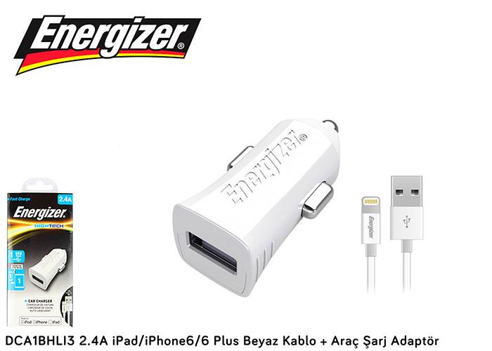 Energizer DCA1BHLI3 2.4A iPad/iPhone6/6 Plus Beyaz Kablo + Araç Şarj Adaptör