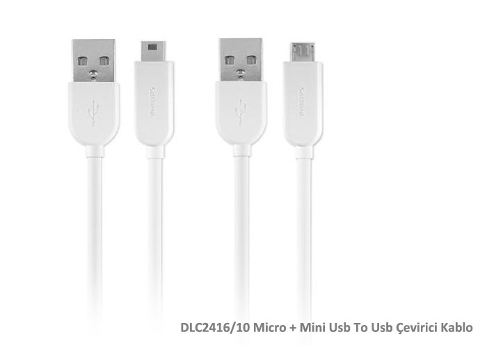 Philips DLC2416 / 10 Micro + Mini Usb To Usb Converter Cable