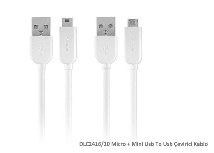 Philips DLC2416/10 Micro + Mini Usb To Usb Çevirici Kablo