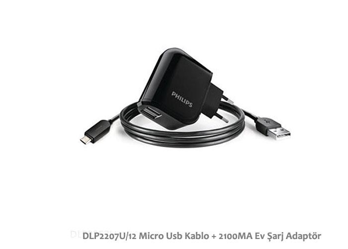Philips DLP2207U/12 Micro Usb Kablo + 2100MA Ev Şarj Adaptör