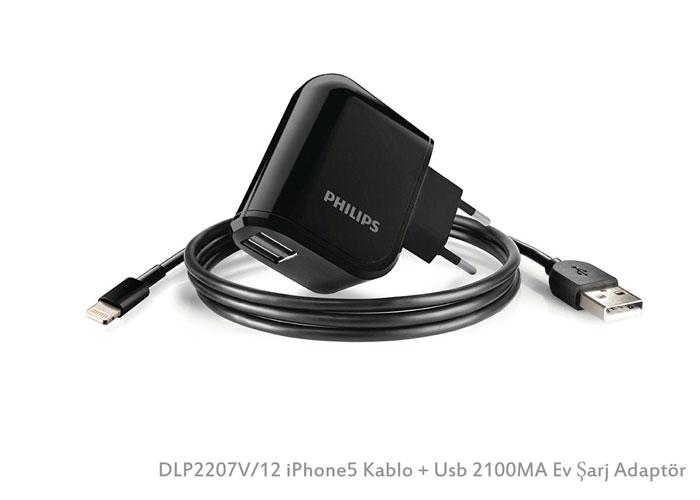 Philips DLP2207V/12 iPhone5 Kablo + Usb 2100MA Ev Şarj Adaptör