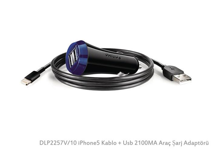Philips DLP2257V/10 iPhone5 Kablo + Usb 2100MA Araç Şarj Adaptörü