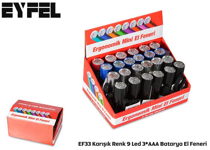 Eyfel EF33 Karışık Renk 9 Led 3*AAA Batarya El Feneri