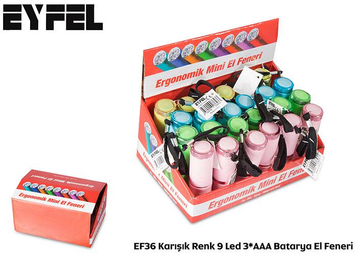 Eyfel EF36 Karışık Renk 9 Led 3*AAA Batarya El Feneri