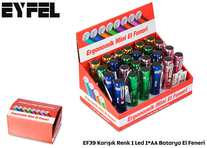 Eiffel EF39 Mixed Color 1 Led 1 * AA Battery Flashlight