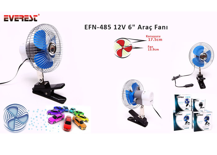 Everest EFN-485 12V 6 Araç Fanı