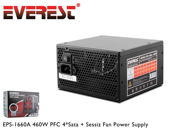 Everest EPS-1660A Peak 460W PFC 4*Sata, 2*6+2 PIN 12 CM FANLI Power Supply
