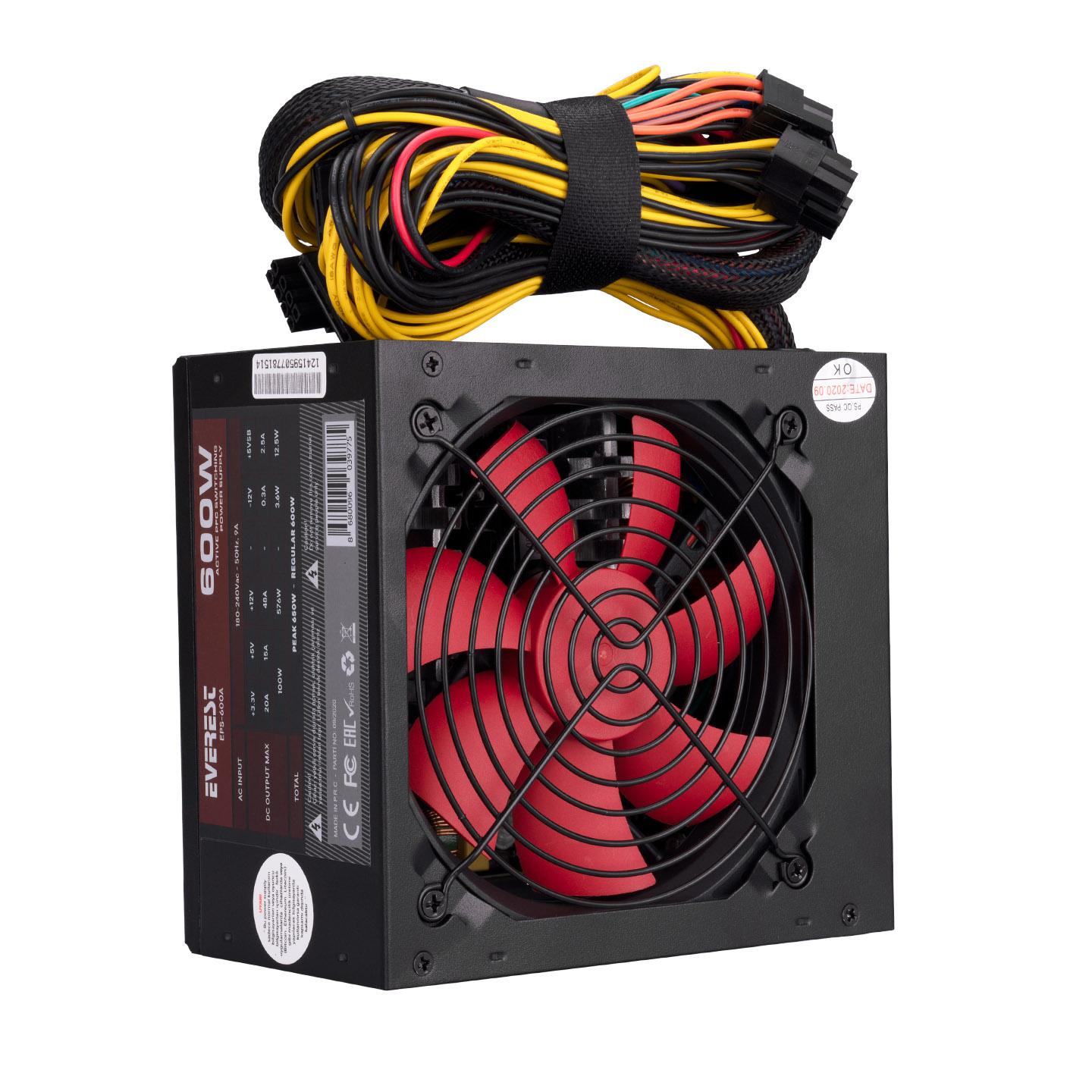 Everest EPS-600A Real 600W 12cm Fan 4*SATA Aktif PFC Oyuncu PC Destekli Power Supply